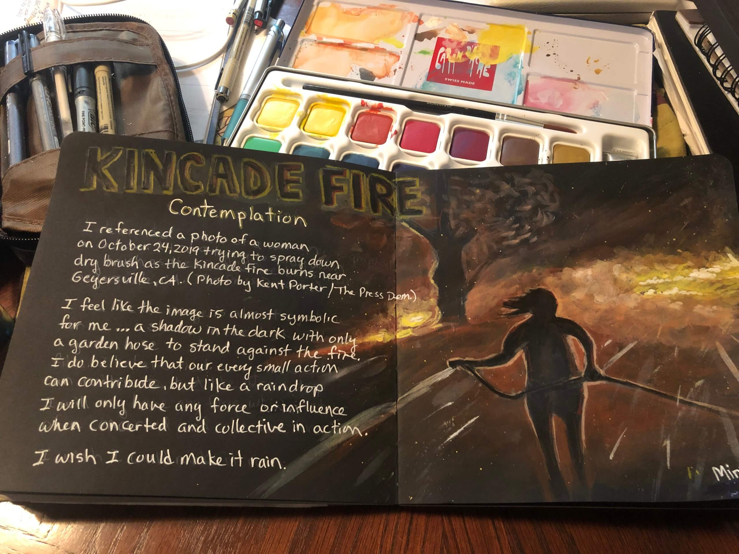 """The artist used photos from the news and journaled about her feelings of helplessness during the Kincade Fire. """"I felt like I wasn't doing enough and liked the visual symbolism of the small hose facing a raging fire,"""" Morrill says."""